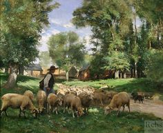 Julien Dupré (1851 - 1910) Shepherd and his sheep