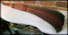ANTIQUE PRIMITIVE HAND MADE WHISK BROOM , DYED . QUALITY, MUST SEE!!