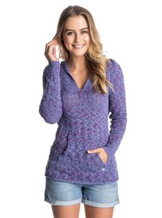 roxy, Warm Heart Hooded Poncho Sweater, Bleached Denim (pmk0)
