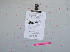 Weiteres - Grußkarte HAPPY NEW YEAR SUPERPIG - ein Designerstück von finelittlepaper bei DaWanda