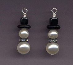 Swarovski Pearl Snowman Earrings with Gunmetal Rhinestone Collar | StyleKittie - Jewelry on ArtFire