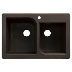 Radius Top Mount Granite 33 in. 1-Hole 1-3/4 Offset Double Bowl Kitchen Sink in