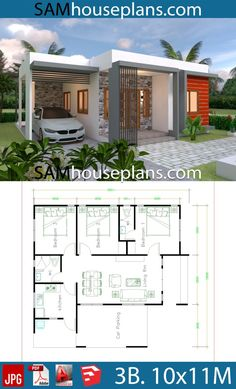 House Plans with 3 Bedrooms – Sam House Plans House Plans with 3 Bedrooms – Sam House Plans Image Size: 640 x Modern Bungalow House Plans, Small Modern House Plans, Bungalow Haus Design, Beautiful House Plans, Model House Plan, My House Plans, House Layout Plans, Bedroom House Plans, Minimal House Design