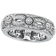duck band rings | Jewelry - 14K White Gold .87ct Diamond Designed Eternity Ring Band.