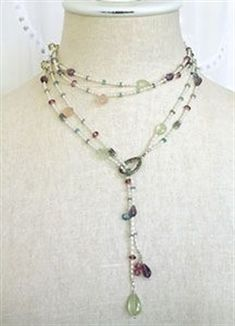 Bead Bee Beading Blog - project ideas, how to make jewelry, make your own jewelry ideas: Gemstone Lariat Necklace #JewelryIdeas