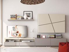 Modern Natural Wall Cabinet, Shelving and TV Unit Composition