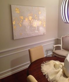 White and gold abstract art by Jenn Meador. Mobile, AL. 36x48 jennmeadorpaint@gmail.com