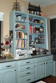 Custom hutch makes great storage for crafting supplies.