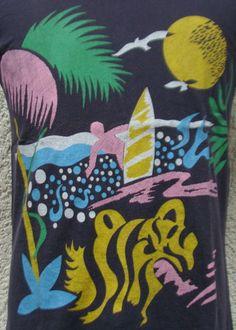 Vintage 80's surfing safari t shirt M