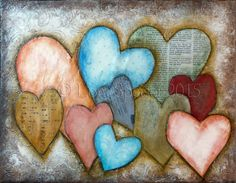10 Ten Hearts Original Painting Mixed Media Oil by SpeiserStudio Art Journal Pages, Heart Images, Heart Crafts, Heart Decorations, Chalk Pastels, Paper Hearts, Heart Art, Texture Painting, Artist Canvas