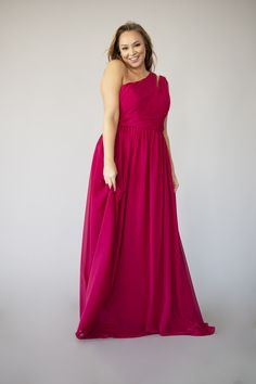 The one-shoulder design makes it easy for you to complete your bridesmaid duties while looking chic and fresh. Berry Bridesmaid Dresses, Bridesmaid Duties, Affordable Bridesmaid Dresses, Jordan Dress, Jordans, One Shoulder, Plus Size, Formal Dresses, Chic