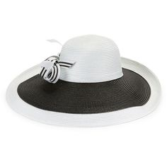 Giovannio Colorblocked Derby Hat ($80) ❤ liked on Polyvore featuring accessories, hats, white black, bow hat, black and white wide brim hat, black and white hat, block hats and giovannio hats