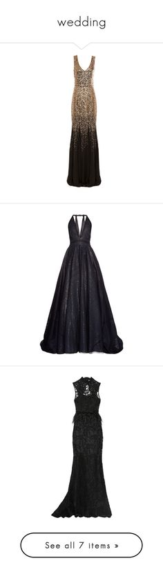 """""""wedding"""" by msmurderscene ❤ liked on Polyvore featuring dresses, gowns, gown, black and gold gown, fishtail maxi dress, maxi gowns, black and gold ball gowns, sequined dresses, long dresses and vestidos"""