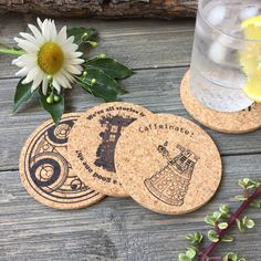 Doctor Who Cork Coaster Set of 4 ($8.50) ❤ liked on Polyvore featuring home, kitchen & dining, bar tools, dining & serving, grey, home & living, round coasters, round cork coasters, grey coasters and cork coasters