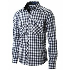 Mens Slim Line Plaid Shirts doublju (HC18)