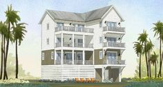 Elevated design with three Master Suites with private balconies. Ideal for an Airbnb rental or second home. Kitchen Island And Breakfast Nook, Elevated House Plans, Covered Front Porches, Porch Entry, Flex Room, Upstairs Bedroom, House Blueprints, Walk In Pantry, Coastal Homes