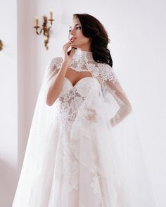 Very tender bride in wedding dress from Victoria Soprano Looks sensual, isn't it? Floral ornaments and long train add more romance and elegance #victoriasoprano #realbride #weddingdress