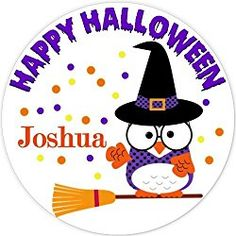 40 labels Circle Halloween Owl kid Party Stickers, Personalized Labels, Custom Party Favor Tags, Choice of Size Halloween Owl, Halloween Labels, Halloween Stickers, Owl Kids, Party Favor Tags, Personalized Stickers, Happy, Fun, Personalised Stickers