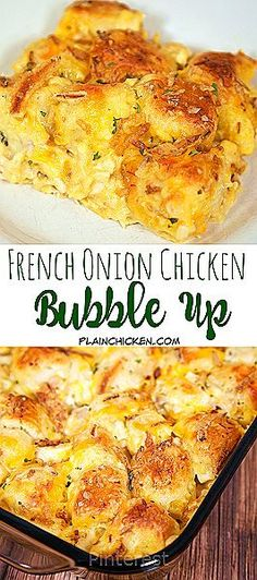 French Onion Chicken Bubble Up AMAZING We literally licked our plates Chicken French Onion Dip Chicken Soup Cheddar Cheese and Biscuits Topped with yummy French Fried On. French Onion Chicken, French Onion Dip, French Fried Onions, Chicken Soup Recipes, Turkey Recipes, Recipe Chicken, Chicken Dishes For Kids, Amazing Chicken Recipes, Chicken Soups