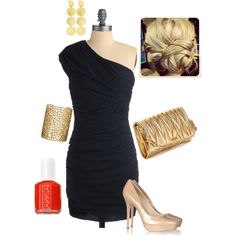 my outfit this weekend to a friend's wedding...navy dress, nude shoes, gold accessories, red nails :)