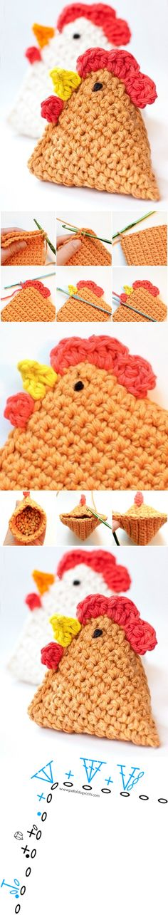 DIY Crochet Chicken Bean Bag Free Patterns kurka na Stylowi. Crochet Kitchen, Crochet Home, Love Crochet, Diy Crochet, Crochet Crafts, Crochet Dolls, Yarn Crafts, Crochet Projects, Crochet Ideas