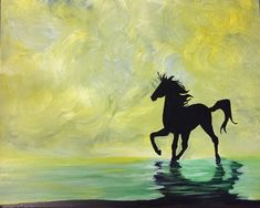 Horse silhouette painting for beginner. Esca Restaurant and Bar, Paint Nite Event