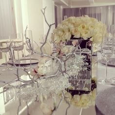 Swarovski crystal and white roses