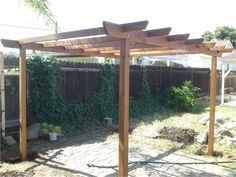 The pergola kits are the easiest and quickest way to build a garden pergola. There are lots of do it yourself pergola kits available to you so that anyone could easily put them together to construct a new structure at their backyard. Diy Pergola, Building A Pergola, Small Pergola, Pergola Canopy, Pergola Attached To House, Pergola Swing, Deck With Pergola, Outdoor Pergola, Swimming Pools