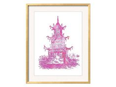 Pink Pagoda Print featuring lively shades of Pink, Hot Pink, and touches of orange. Ive given the pagoda a modern twist of tropical color while retaining the painstaking details of traditional Chinoiserie.  This pink Pagoda print will add a touch of Chinoiserie Chic to any room. Perfect for the Palm Beach Style bedroom or Hollywood Regency Living Room.  • • • For other Chinoiserie art prints…