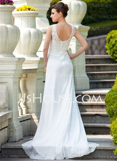 A-Line/Princess V-neck Court Train Chiffon Charmeuse Wedding Dress With Ruffle Lace Beadwork (008024572)
