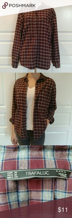 Zara button down plaid shirt Perfect condition, worn couple of times checked Zara Tops Button Down Shirts