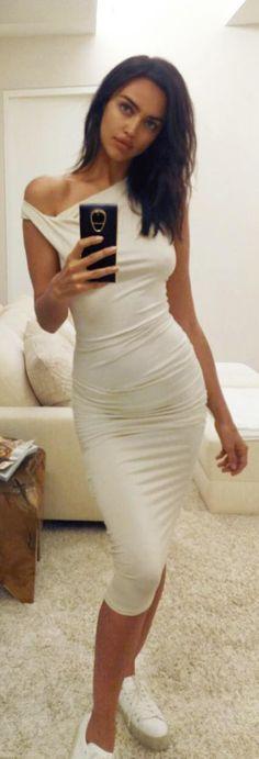 Who made Irina Shayk's white dress?
