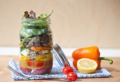 Veggie salad in a jar with Holy Crap cereal