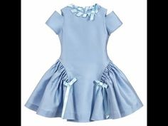 brand dresses An elegant pale blue dress by ValMax, madein a luxurious, polyester and silk blend satin. The full, panelled skirt has ruched sides with satin bows that match the trim arou Frocks For Girls, Little Girl Dresses, Girls Dresses, Dresses Dresses, Dance Dresses, Baby Frocks Designs, Kids Frocks Design, Baby Dress Design, Frock Design