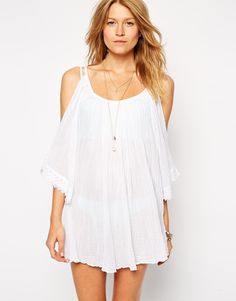 a1feb447b3 ASOS Cheesecloth Cold Shoulder Beach Tunic at asos.com