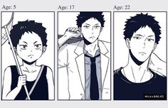 iwaizumi, growing up, http://milkybreads.tumblr.com/post/112273496458/i-did-the-growing-up-meme-thing-gimme-10-chibi