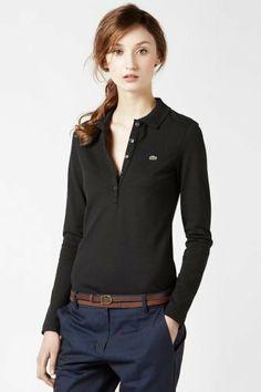 aae976a051232  Lacoste  Women s Long Sleeve 5 Button Stretch Pique  Polo Lacoste Polo,  Polo