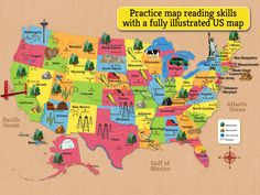 Illustrated map of the US can be used as a reference in the game. Fun tool to learn US Geography