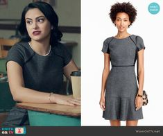 Crew Checkered flutter dress worn by Veronica Lodge (Camila Mendes) on Riverdale Veronica Lodge Fashion, Veronica Lodge Outfits, Tv Show Outfits, Cute Outfits, Fashion Tv, Fashion Outfits, Red And Black Outfits, Riverdale Fashion, Different Dresses
