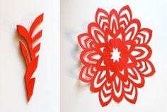 DIY Red Christmas Paper Snowflake Decor