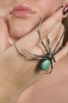 Garden Spider with Turquoise Stone Brooch