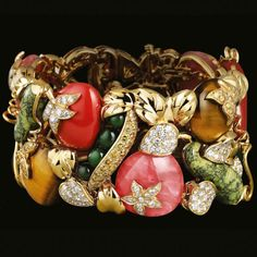 Gem-encrusted vegetable bracelet by Lorenz Bäumer