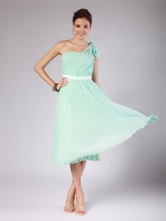 Mint Green One Shoulder Bridesmaid Dress mint