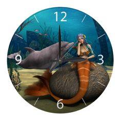 Sad Mermaid Wall Clocks