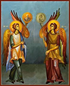 Angels with Hexapteriga South Side Byzantine Icons, Byzantine Art, Religious Icons, Religious Art, Orthodox Prayers, Best Icons, Orthodox Icons, Christian Art, Art History
