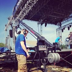The Digital Media crew from VFCC are finalizing the media production setup at @CreationFest for tonight's opening bands & speakers. @VFCCDigiMedia