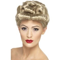 1940s Vintage Curls Wig, Blonde ($20) ❤ liked on Polyvore featuring beauty products, haircare, hair styling tools and hair care