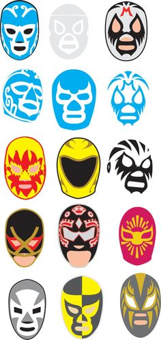 Arm wrestling tourney planning, imagine if each mask was the logo of each organization Wrestling Tattoos, Blue Demon, Luchador Mask, Mexican Mask, Mexican Wrestler, Chicano Art, Mexican Style, Cultura Pop, Mask Design