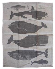 WHALE PRINT BELGIAN LINEN TEA TOWEL via Enormous Champion {Brooklyn} at Heath Ceramics