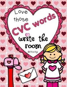 """Kindergarteners need practice reading and writing CVC words.  Here's a fun practice for 15 CVC words using the """"Write the Room"""" format with a Valentine's theme--FOR FREE!  Each CVC picture has a heart with it that coordinates with the student response sheet."""